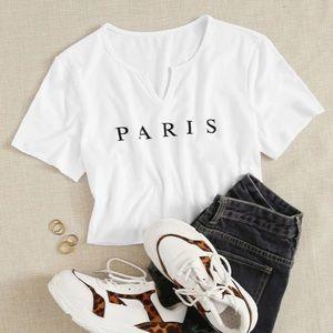 Tops - 🎉HP🎉white Paris crop top